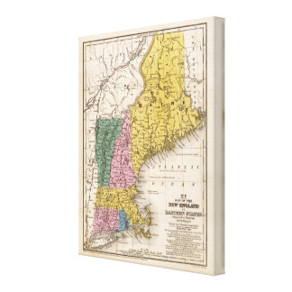 Map of the New England or Eastern States Canvas Print