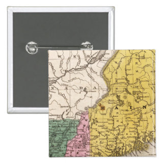 Map of the New England or Eastern States Pinback Button