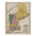 Map of the New England or Eastern States Poster