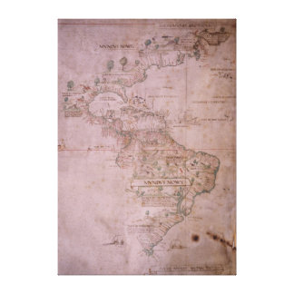 Map of the New World, c.1532 Canvas Print