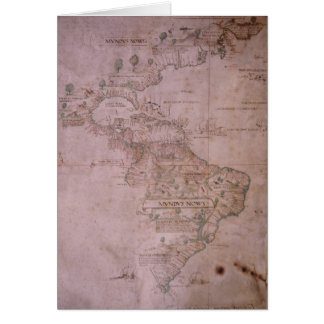 Map of the New World, c.1532 Greeting Card