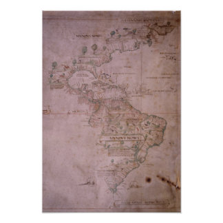 Map of the New World, c.1532 Poster