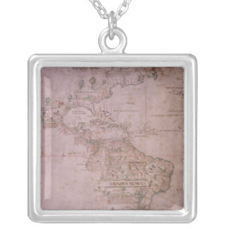 Map of the New World, c.1532 Silver Plated Necklace
