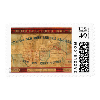 Map of the New York and Erie Rail Road Postage