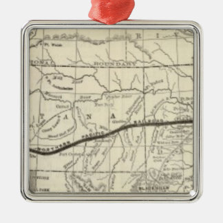 Map of the Northern Pacific Railroad Metal Ornament