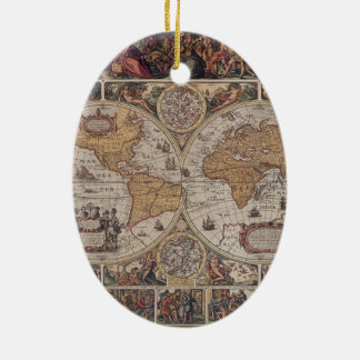 "Map of the ""Old World"" Ceramic Ornament"