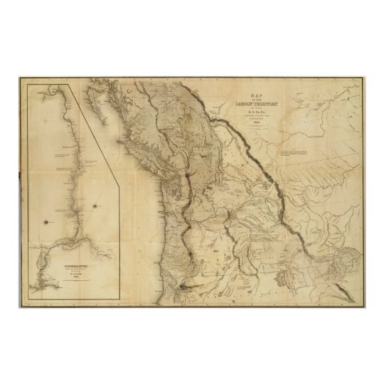 Map of the Oregon Territory Poster