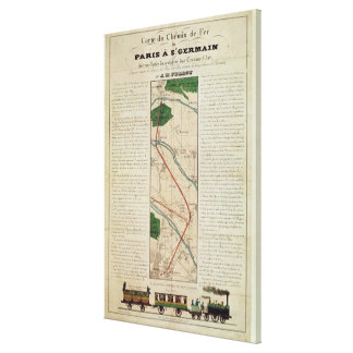 Map of the Paris to St. Germain Railway, by Canvas Print