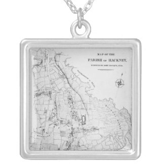 Map of the Parish of Hackney Square Pendant Necklace