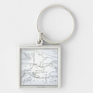 Map of the parts of Europe and Asia Keychains