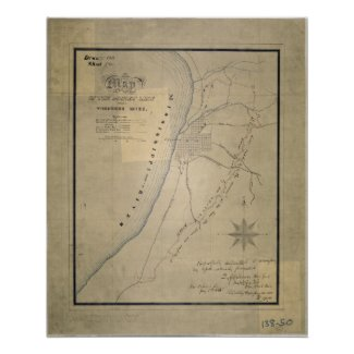 Map of the Picket Line around Vicksburg, Miss Print