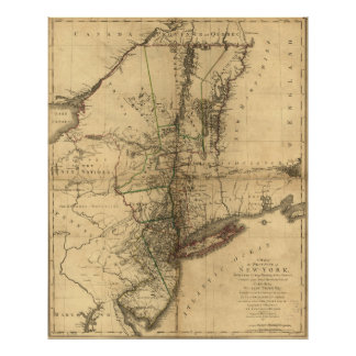 Map of the Province of New York by W. Faden (1776) Poster