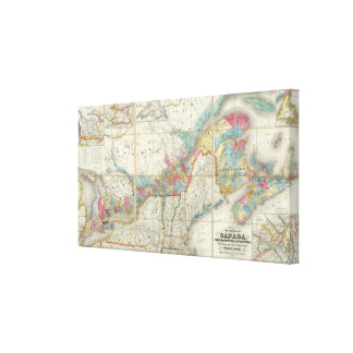 Map Of The Provinces Of Canada Canvas Print