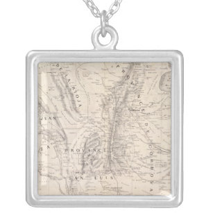 Map of the provinces of Cordova and San Luis Silver Plated Necklace