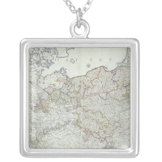Map of the Prussian States in 1799 Silver Plated Necklace