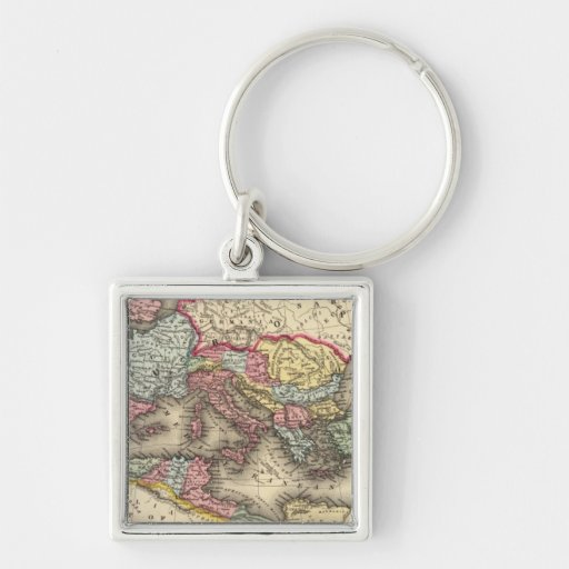 Map of the Roman Empire Silver-Colored Square Keychain