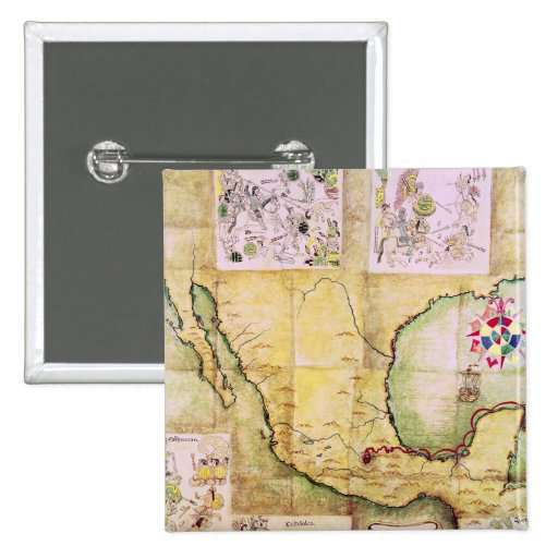 Map of the route followed by Hernando Cortes 2 Inch Square Button