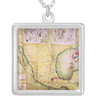Map of the route followed by Hernando Cortes Silver Plated Necklace