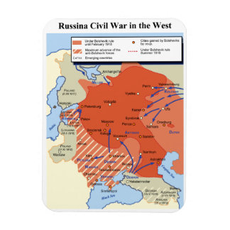 Map of the Russian Civil War in the West 1918-1920 Magnet