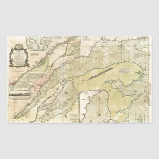 Map of the Saint Lawrence River (1771) Rectangular Sticker