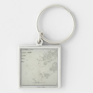 Map of the Scilly Isles in Britain Keychain