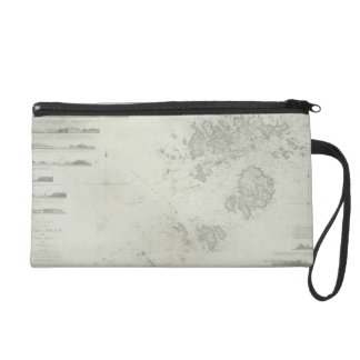 Map of the Scilly Isles in Britain Wristlet Purse