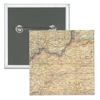 Map of The Seat of Civil War In America 2 Inch Square Button