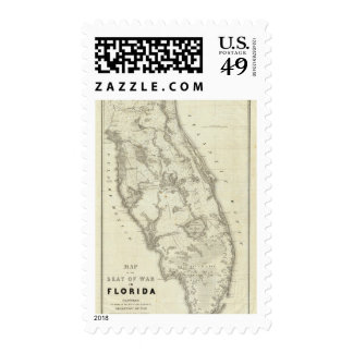 Map Of The Seat Of War In Florida Postage Stamp