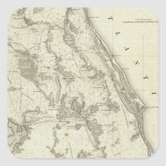 Map Of The Seat Of War In Florida Square Sticker