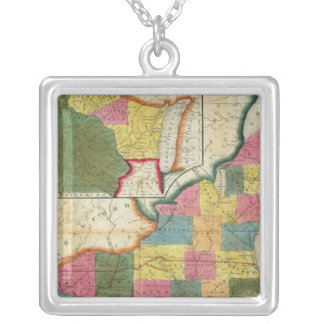 Map of the Settled Wisconsin Territory Silver Plated Necklace