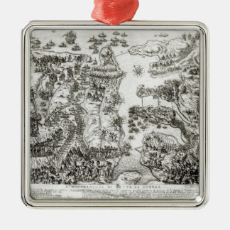 Map of the Siege of Malta in 1565 Metal Ornament