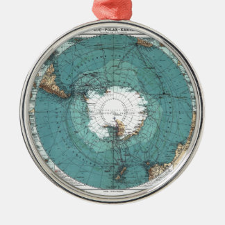 Map of the South Pole Metal Ornament