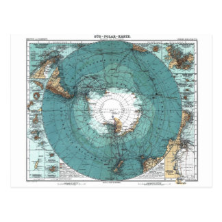 Map of the South Pole Postcard
