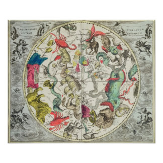 Map of the Southern Hemisphere 2 Poster
