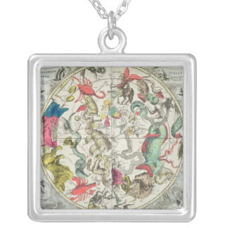 Map of the Southern Hemisphere Square Pendant Necklace