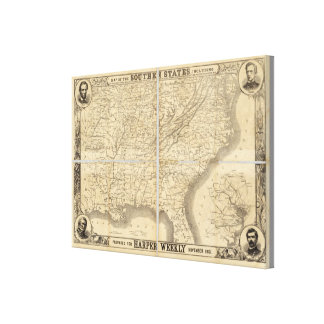 Map Of The Southern States Canvas Prints
