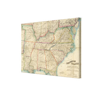 Map of The Southern States of America Canvas Print