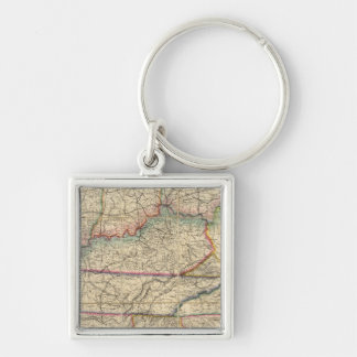 Map of The Southern States of America Silver-Colored Square Keychain