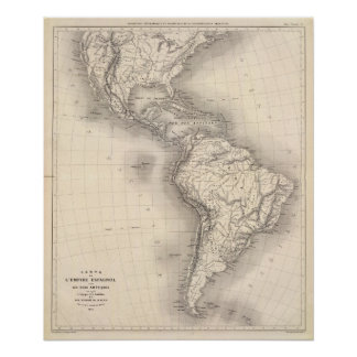 Map of the Spanish Empire in the Americas Poster
