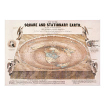 Map of the Square and Stationary Earth by Ferguson Photo Print
