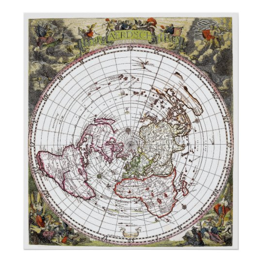 Square Earth Map.Map Of The Square And Stationary Flat Earth Plane Poster Zazzle Com