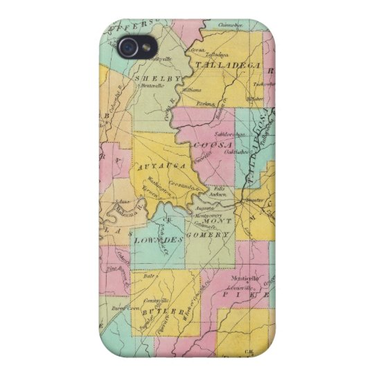 Map of the State of Alabama Case For iPhone 4