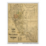 Map of the State of California, 1851 Poster
