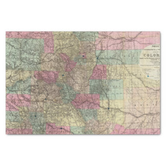"""Map of the State of Colorado 10"""" X 15"""" Tissue Paper"""
