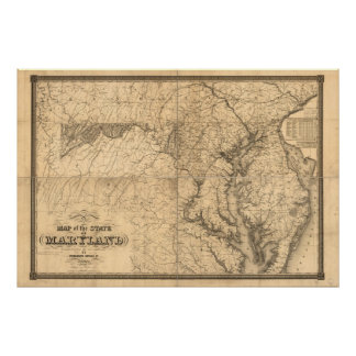 Map of the State of Maryland 1841by Fielding Lucas Poster