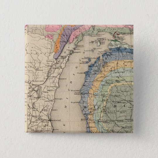 Map of the State of Michigan Pinback Button