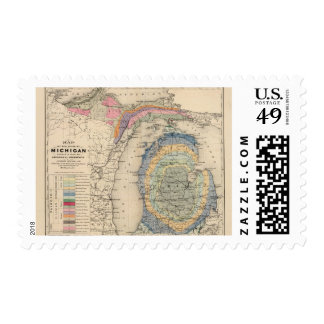Map of the State of Michigan Postage Stamp