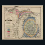 "Map of the State of Michigan Poster<br><div class=""desc"">Map of the State of Michigan colored to show the geological formations. By Winchell,  Alexander,  1824-1891; Walling,  H. F. (187). Published by &#39;&#39;Detroit: R.M. &amp; S.T. Tackabury&#39;&#39;.</div>"