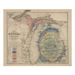geology, michigan, hand, col, lithographed, map,
