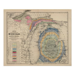 Map of the State of Michigan Poster